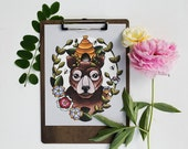 Honey Bear, Original Art Print on Cold Press Paper
