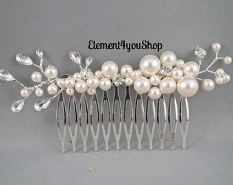 Pearl Bridal Hair Comb, Hair Comb with branch, Bridal hairpiece, Wedding hair accessories, Bridal Headpieces, Rhinestone hair comb bridal