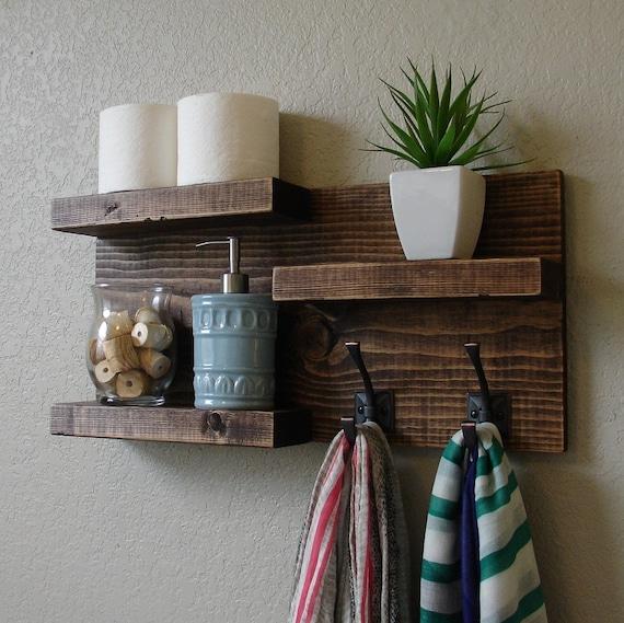 modern rustic 3 tier bathroom shelf. Black Bedroom Furniture Sets. Home Design Ideas