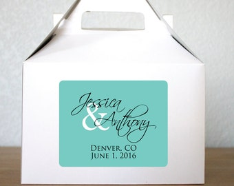 Wedding Gable Boxes Personalized Labels Wedding Welcome Box Custom Large Welcome Gift Large Gable Box with Label White Gable Box Customized