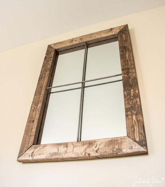 Rustic mirror large simulated window mirror by for Window design mirror