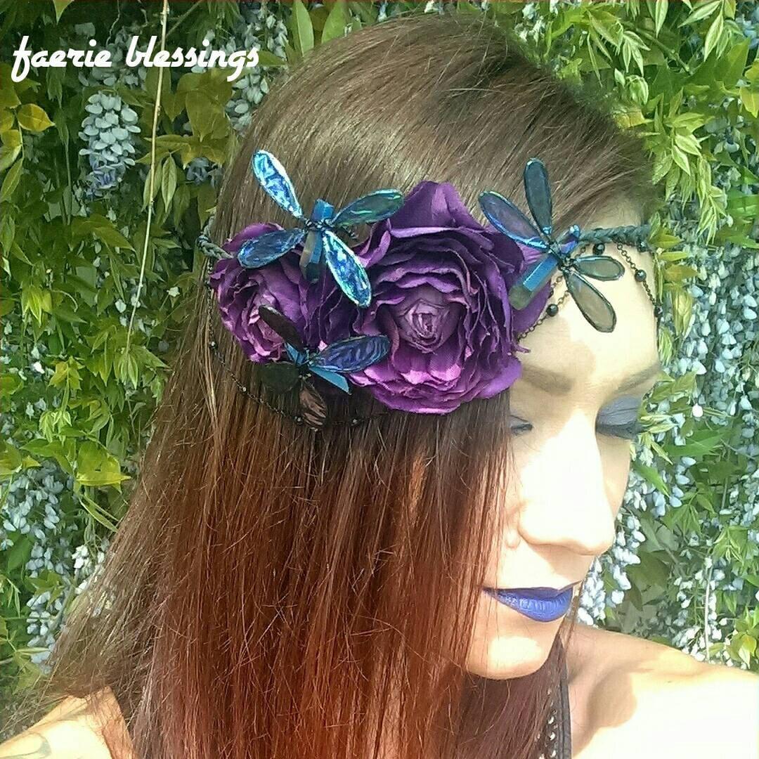 Flower Crown Purple: Purple Flower Crown With Blue Titanium Quartz By