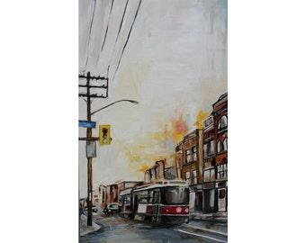 Streetcar Toronto Painting Art - Oil Painting - City Painting 24X12