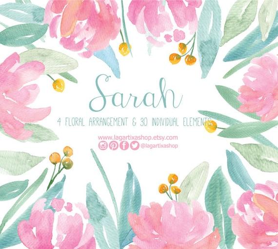 Flores En Acuarela Clipart Png Pintadas A Mano Arreglo De