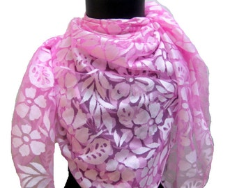 SALE! was 15 USD now...Pink, floral, square scarf in net fabric.