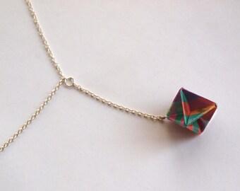 Geometric origami diamond necklace