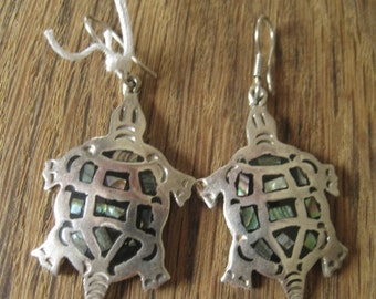Sterling Silver Large Abalone & Onyx Turtle Hook Earring (201)