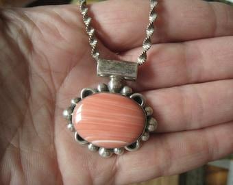Sterling Silver Studded Orange Pink Agate Slider Pendant Necklace (733)
