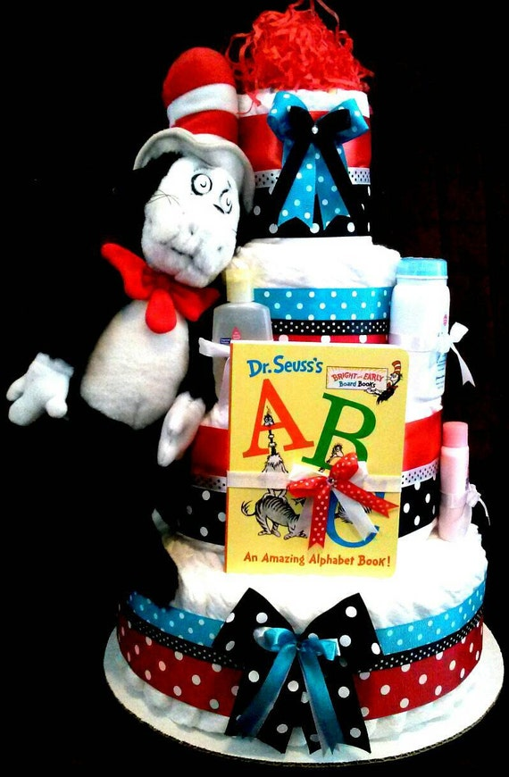 Dr Seuss Diaper Cake Thing 1 Thing 2 Cat And A Hat Diaper Cake
