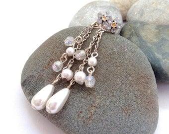 Long Pearl Earrings - Vintage Jewellery - Avon Earrings - Crystal