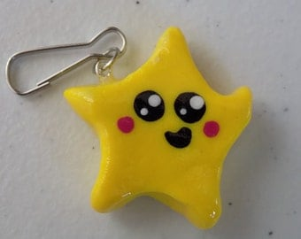 Large star polymer clay charm