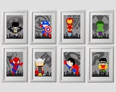 superhero wall art prints, set of 8,  superhero nursery or bedroom wall art, 8 high quality prints, shipped to your door!