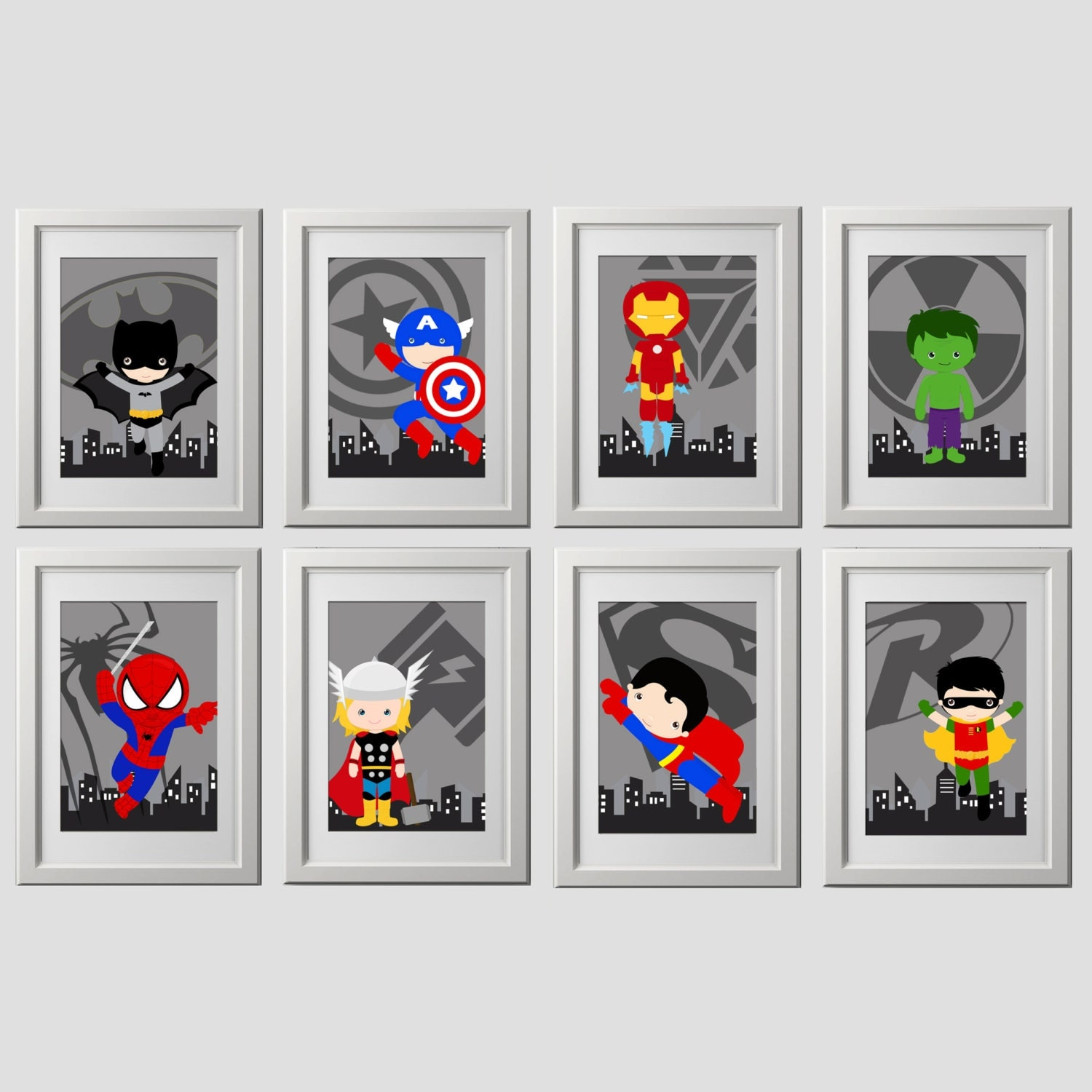 superhero wall art prints set of 8 super hero wall art. Black Bedroom Furniture Sets. Home Design Ideas