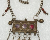 Antique rare yemen Bedouin woman necklace amulet yemeni jewelry big pendant