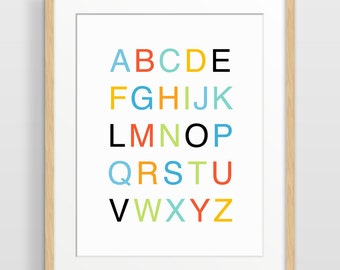 Alphabet Poster, Modern Nursery Decor, Alphabet Art, Nursery Print, Kids Wall Art, Children's Art