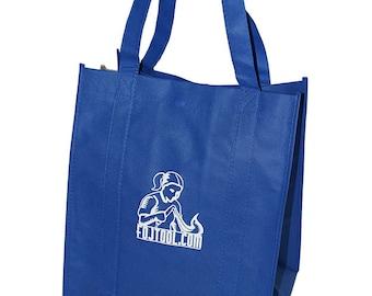 "Blue Canvas Shopping Tote with FDJ Imprint 14.5""x13""x10""  (FDJ-BAG02)"