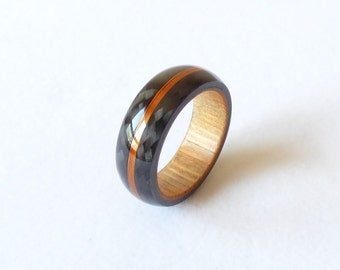 carbon fiber & wood ring