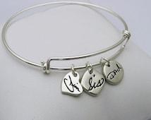 Handwriting Charm Bracelet, Handwriting Bangle Bracelet, Silver Charm Bracelet, Silver Expandable Bangle, Expandable Bangle, Memorial, Name