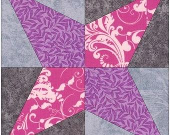 Hummingbird Star Paper Piece Templates Quilting Block Pattern