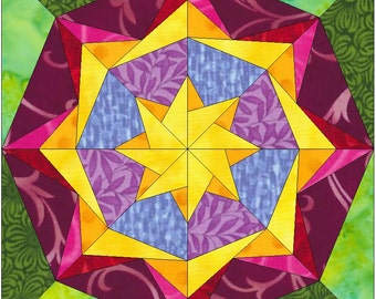 Star Flower Paper Piece Templates Quilting Block Pattern