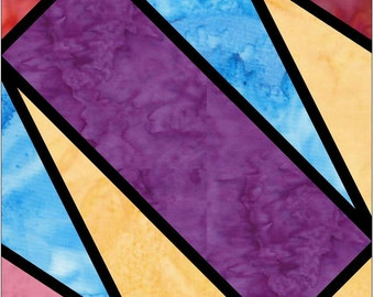 Quarter Cross Stained Glass Paper Piece Foundation Quilting Block Pattern