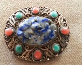 Vintage Chinese Sterling Brooch, Carved Lapis, Turquoise and Carnelian