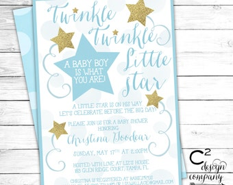 Blue & Gold Twinkle Twinkle Little Star Baby Shower Invitation
