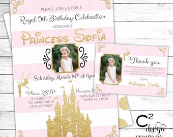 Pink & Gold Disney Princess Birthday Invitation with Thank You Card