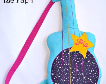 Guitar fabric cushion custom guitar for playing rock star or decorating a child's room with the child's first name