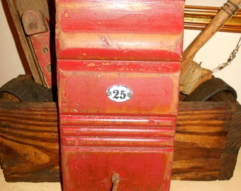 architectural salvage / Antique PLINTH  equipped with rusted double-hook / repurposed salvaged wood