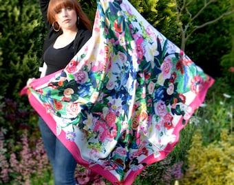 Pink sensation / large silk scarf - FREE SHIPPING
