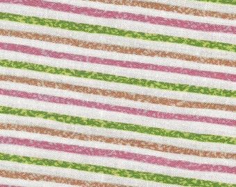Pink Green Chalk Stripe Print Cotton Fabric / Sunshine Acres by RJR Fashion Fabrics / 1 yard