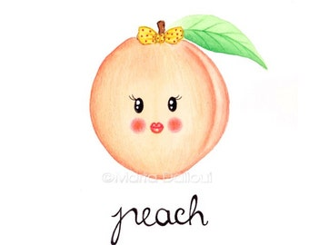 Peach fruit art original watercolor painting. Cute peach illustration. Whimsical fruit painting. Fruit nursery art. Kitchen food wall art.