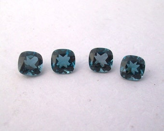 Cushion 8 mm Natural LONDON blue topaz SQUARE cushion top cut  faceted gemstone....