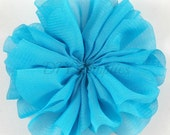 Turquoise ballerina flower - 3.5 inch fabric flower - Large double ruffle flower - Wholesale flowers - Twirl flower for headbands