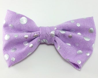 "4"" Lavender silver polka dot bow for making hair bows or headbands, Silver bow, Large headband bow, Large bows, Bling bows, Polka dot bow"