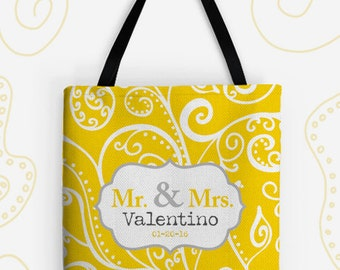 Mr and Mrs Personalized Large Tote Bag. 14 Colors Avail. Customized Wedding Gift, Travel Bag, Vintage, Bride, Groom, Silent Era, Newlywed