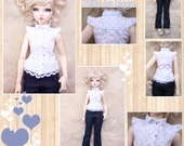 BJD MSD 1/4 white blouse with polka dots or jeans