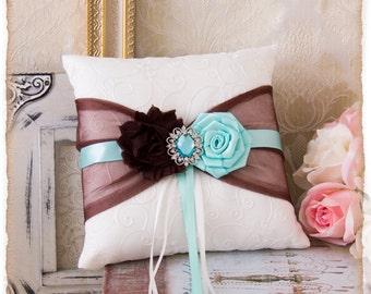 Chocolate and Aqua Ring Bearer Pillow, Wedding Ring Bearer Pillow, Ring Bearer Pillow, Wedding Accessories, Ring Pillow