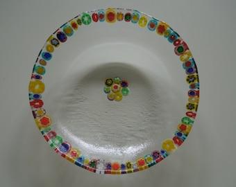 Millefiori rimmed bowl