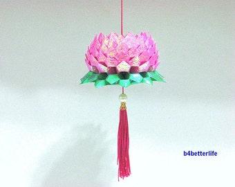A Piece of Medium Size Pink Color Origami Hanging Lotus. (CY paper series).