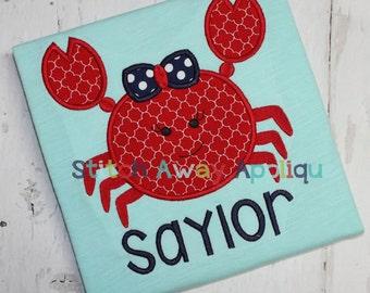 Girly Crab Summer Beach Machine Applique Design