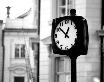 Prague Travel Photography / Clock Print / Black and White Photo / Architecture Print / Home Decor / Wall Art / Fpoe
