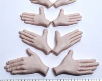 """Moldf11h - 5 Small Hands, size 3/4 inch to 1.5 inches long. Designed by Maureen Carlson. Use with 3/4"""" - 2"""" face molds and Foot Mold F12F"""