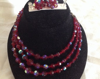 10% OFF SALE Vintage Red Glass Bead Necklace and Earrings