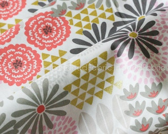 CLEARANCE- 40% Off // Last Fat Quarter- Glitz Garden Coin, Metallic Print, Michael Miller Fabrics, Quilting Weight Cotton Fabric