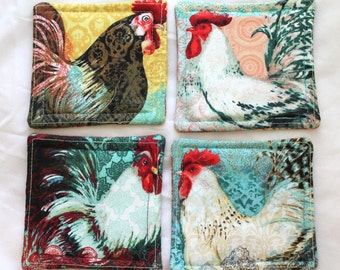 Set of four fabric coasters, Colorful Roosters, Handmade Fabric Coasters, Cloth Mug Rugs, Snack Mats, Rooster Print Fabric