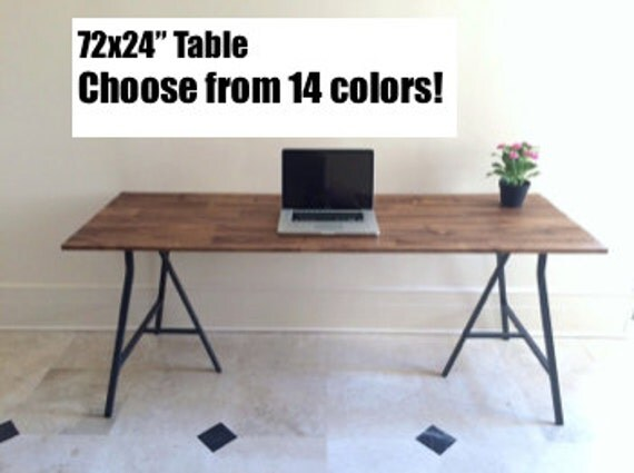 Large desk narrow dining table on ikea trestle by goldenrulenyc - Long narrow dining table ikea ...