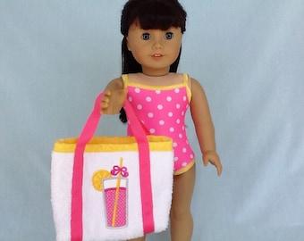 Pink Lemonade Bathing Suit and Beach Bag for American Girl/18 Inch Doll