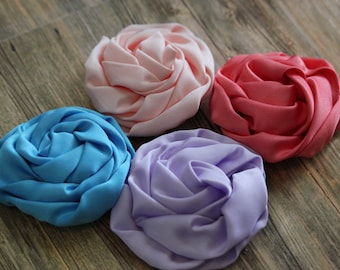 "You Pick Four - 3"" Rolled Flower Rosette - Hair Accessory Supplies"